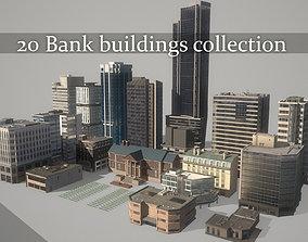 20 bank buildings collection 3D asset
