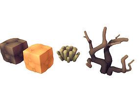 3D asset Cube World Dirt Block - Proto Series