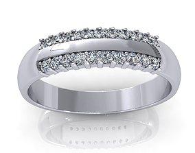 3D model Two Row Diamond Ring