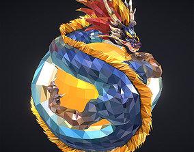 Blue Dragon Low Polygon Art 3D asset