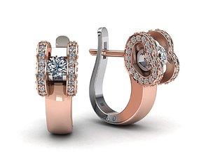 Heart diamond earrings paradise 119 3D printable model