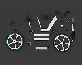 Separate parts of electric bicycle 3D model