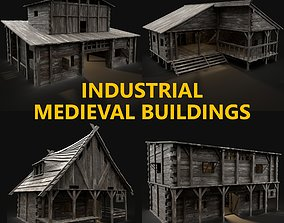 3D model 4 INDUSTRIAL MEDIEVAL BUILDING PACK COLLECTION