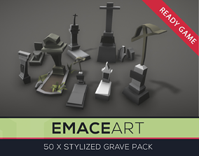 Low Poly Grave Kit with LODs 3D