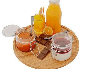 Jam Orange Juice and Chocolate 3D