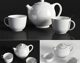Kettle and cups 3D