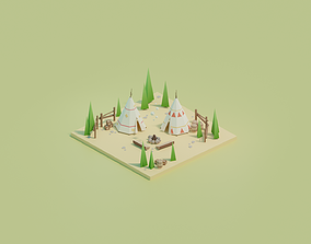 3D asset Isometric Traditional Indian Teepee