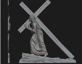 Jesus With The Cross Relief 3D print model