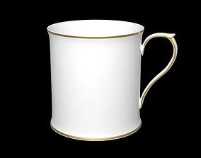 3D model Tea Cup with gold ring