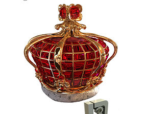 3D gold Ruby Crown
