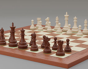 3D model Chess pieces with rigged and posed figurines