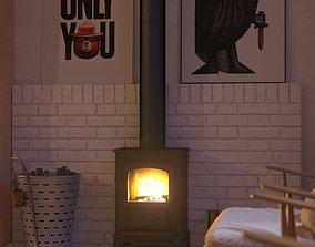 Fireplace n scandinavian style 3D