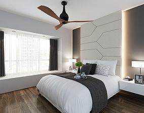 Master bedroom 3D interior headboard
