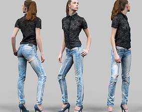 3D model Torn Jeans Girl