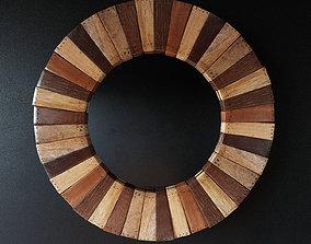 3D Round Wooden Mirror
