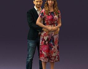 Man and woman hugs 0444 3D