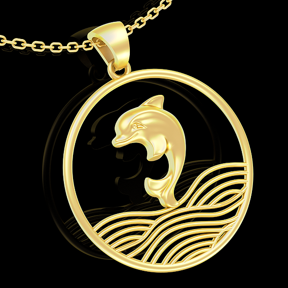 Wave and dolphin Pendant jewelry Gold 3D print model 3D print model
