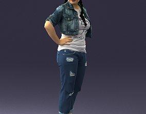 Denim woman in a green hat 0353 3D Print Ready