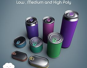 3D model low-poly PBR Tin Can Pack