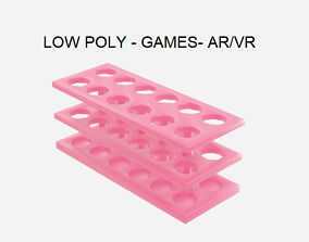 3D asset Low Poly Test Tube Rack - Chemistry Lab