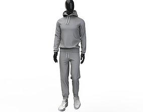 Men tracksuit sport clothing hoodie sweatpants 3D model