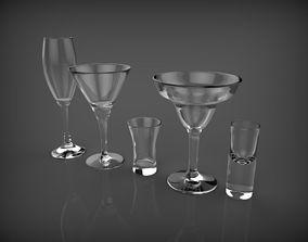 3D model five glasses