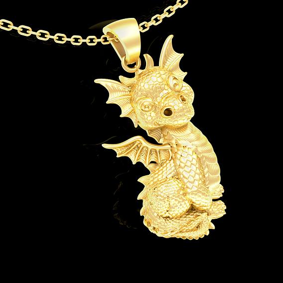 Baby Dragon pendant jewelry Gold 3D print model