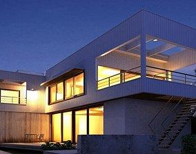 Evening Scene Of A Modern House 3D