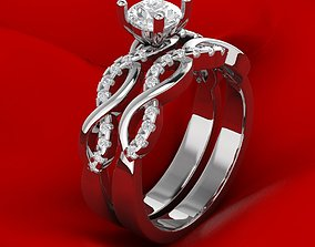 3D Luxury Engagement twin rings