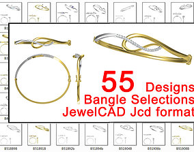 55 bangle designs collection for jewelry 3D print model 2