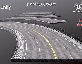3D model Modular Highway Roads PBR