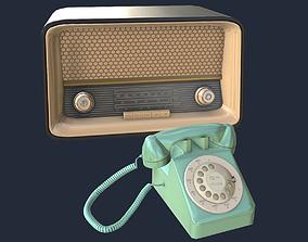 Vintage 50s Radio and Phone 3D model