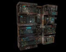 3D asset Low poly sci fi building wall facade