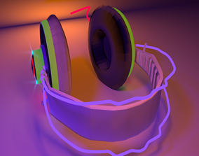 Stylized Head Phones 3D model