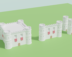 Castle Tower Wall Pack 3D model