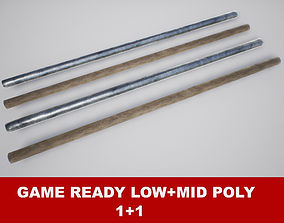 3D model Fighting Arnis Sticks PBR Game Ready