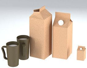 3D asset Milk carton