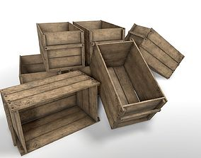 Wooden Crate 3D asset game-ready old
