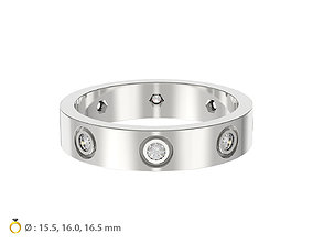 N125 Woman ring with 8 diamonds 3D print model