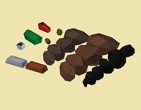 PACK 013 Minerals Coal Copper Iron Gold Ruby 3D asset 1