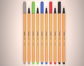 3D asset Set of 5 pens Stabilo point 88