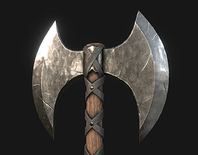 3D model Viking Medieval Double Bladed Two Handed Battle