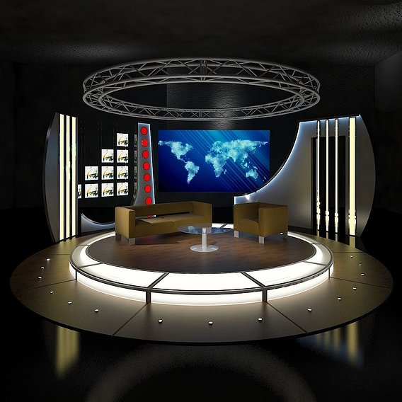 Virtual TV Studio Chat Set 19
