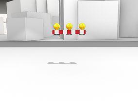 3D asset Construction Barrier 4 with warning lights 600-30