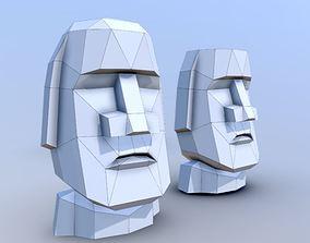 3D Head statue Moai