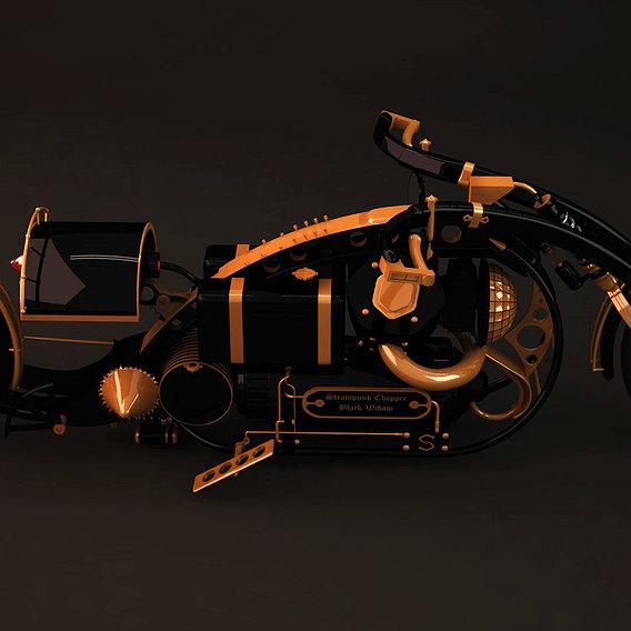 Steampunk chopper black widow