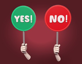 Yes - No Sign 3D asset