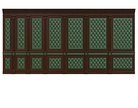3D model Wood panel with leather 017