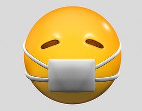 san 3D Emoji Face with Medical Mask