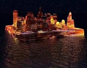 3D The island of lava